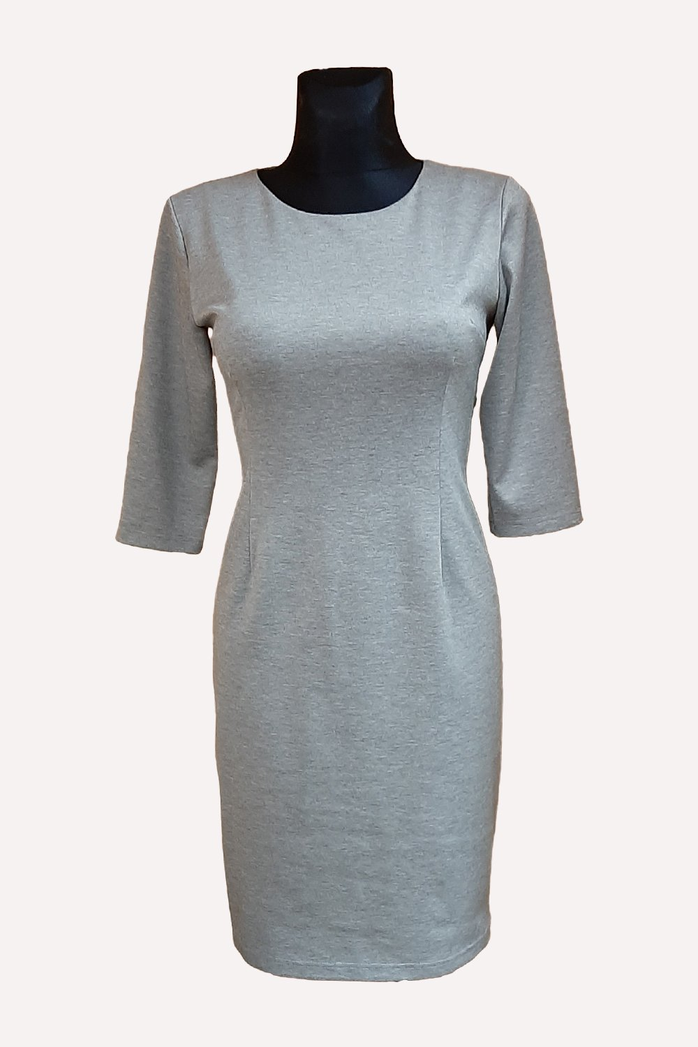 Classic grey melange knitted dress